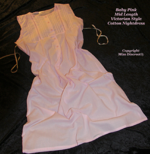 Pink or White 100% Cotton Nighty - Nightdress Uk 10/12